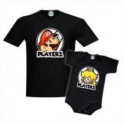 Camiseta e Roupinha Super Mario Princesa Peach Dia dos Pais Player 1 e Player 2