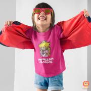 Camiseta Infantil Game Princesinha do Super Mario