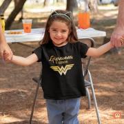 Camiseta Infantil Mulher Maravilha Ouro Personalizada com Nome