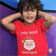 Camiseta ou Body Feliz Natal Papai Noel Personalizada Com Nome