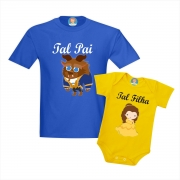 Camiseta Papai Fera e Roupinha de Bebê Filha Bela - Dia dos Pais