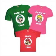 Camisetas Aniversário Personalizadas Super Mario Luigi e Princesa