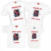Camisetas de Aniversário Homem Aranha Personalizadas Com Nome - Festa Spider Man
