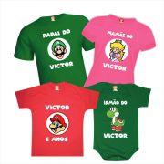 Camisetas de Aniversário Super Mario Luigi Princesa Yoshi