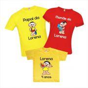 Camisetas de Aniversário Turma da Monica Cascão Magali