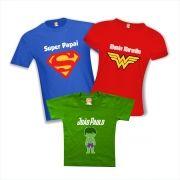 Camisetas Família Heróis Super Papai Filho Hulk Mãe Maravilha