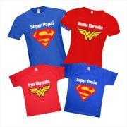 Camisetas Família Heróis Super Papai Filho Mamãe e Filha Maravilha