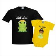 Camisetas Tal Pai e Filha Sapo e Princesa Tiana
