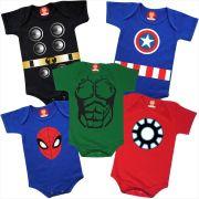 Combo 5 Roupinhas Heróis Thor Homem de Ferro Capitão América Homem Aranha Hulk
