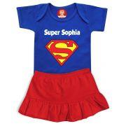 Conjunto Infantil Body e Saia Super Heroina