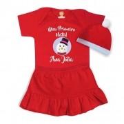 Conjunto Infantil com Body, Saia e Gorro Primeiro Natal