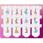 Kit 12 Bodys Mesversario Princesas