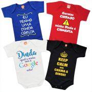 Kit 4 Roupinhas de Bebê Frases Dinda Madrinha Personalizado Divertida