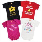 Kit 4 Roupinhas de Bebê Frases Titia Personalizado Divertia