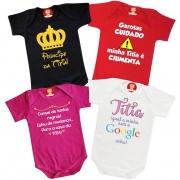 Kit 4 Roupinhas de Bebê Frases Titia Personalizado Divertida