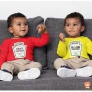 Kit Bodys Roupinha de Bebê Gêmeos Ketchup e Mostarda