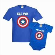 Kit Camiseta e Body Capitão América - Tal Pai e Filho Dia dos Pais