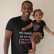 Kit Camiseta e Body de Bebê meu Primeiro Dia dos Pais Coração - Menina