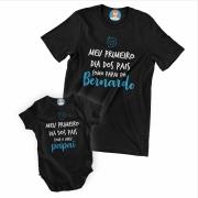 Kit Camiseta e Body de Bebê meu Primeiro Dia dos Pais Coração - Menino