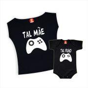 Kit Camiseta e Body de Bebê Tal Mãe Tal Filho Game