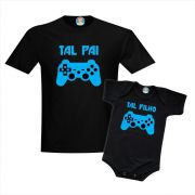 Kit Camiseta e Body Game Controles Dia dos Pais