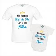 Kit Camiseta e Body Meu Primeiro Dia dos Pais White