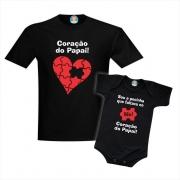 Kit Camiseta e Body Sou a Pecinha Que Faltava No Coração do Papai