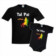 Kit Camiseta e Roupinha Leão de Judá Reggae Tal Pai e Tal Filho Filha Dia dos Pais