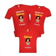 Kit Camisetas de Aniversário para Família Mulher Maravilha
