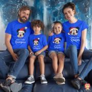 Kit Camisetas de Natal Disney Azul para Família