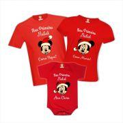 Kit Camisetas de Natal para Família Mickey Vermelhas