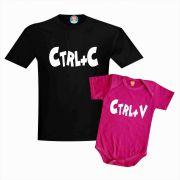 Kit Camiseta e Body de Bebê CTRL+C Cópia e CTRL+V Cola Dia dos Pais