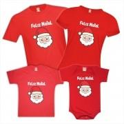 Kit Camisetas e Body Família Feliz Natal Papai Noel