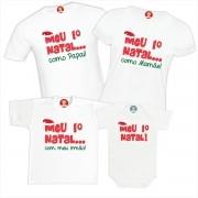 Kit Camisetas e Body Meu Primeiro Natal Papai Mamãe Irmão Natal Família