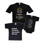 Kit Camisetas e Roupinha Melhor Papai do Mundo - Amigo, Parceiro, Camarada e Meu Pai