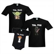 Kit Camisetas e Roupinha Tal Avô Pai Filha Star Wars Mestre Yoda Darth Vader Princesa Leia