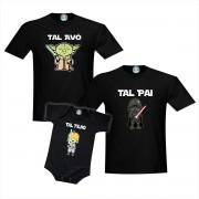 Kit Camisetas e Roupinha Tal Avô Pai Filho Star Wars Mestre Yoda Darth Vader Lukeskywalker