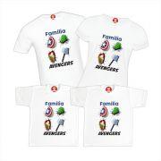 Kit Camisetas Família Heróis Avengers Vingadores Ultimato