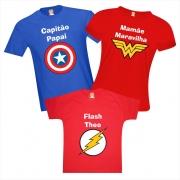 Kit Camisetas Família Heróis Capitão Maravilha e Flash