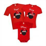 Kit Camisetas Família Natal Mickey  ou Minnie