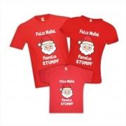 Kit Camisetas Feliz Natal Papai Noel Com Nome da Família Personalizado