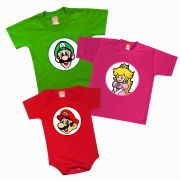 Kit Camisetas Infantis Super Mario Luigi Princesa Peach