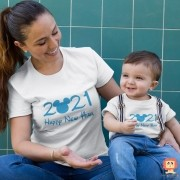 Kit Camisetas Mãe e Filho Happy New Year