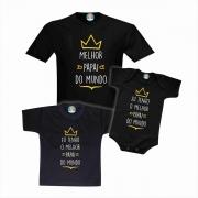 Kit Camisetas Melhor Papai do Mundo 3pc