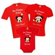 Kit Camisetas Meu Primeiro Natal Mickey Disney Personalizado Com Nome
