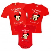 Kit Camisetas Meu Primeiro Natal Minnie Disney Personalizado Com Nome