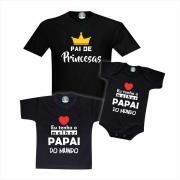 Kit Camisetas Pai de Princesas Irmãs ou Gêmeas