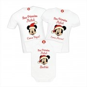Kit Camisetas Primeiro Natal Disney Mickey e Minnie