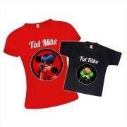Kit Camisetas Tal Mãe e Filho Miraculous Ladybug e Cat Noir