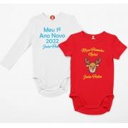 Kit com 2 Bodys Natal e Ano Novo Personalizados com Nome
